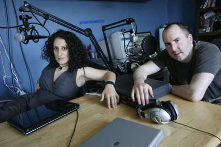 Keith Malley and Chemda in the studio