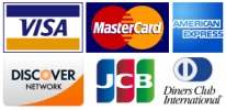 We accept PayPal, Visa, Master Card, American Express, Discover, JCB and Diners Club International.